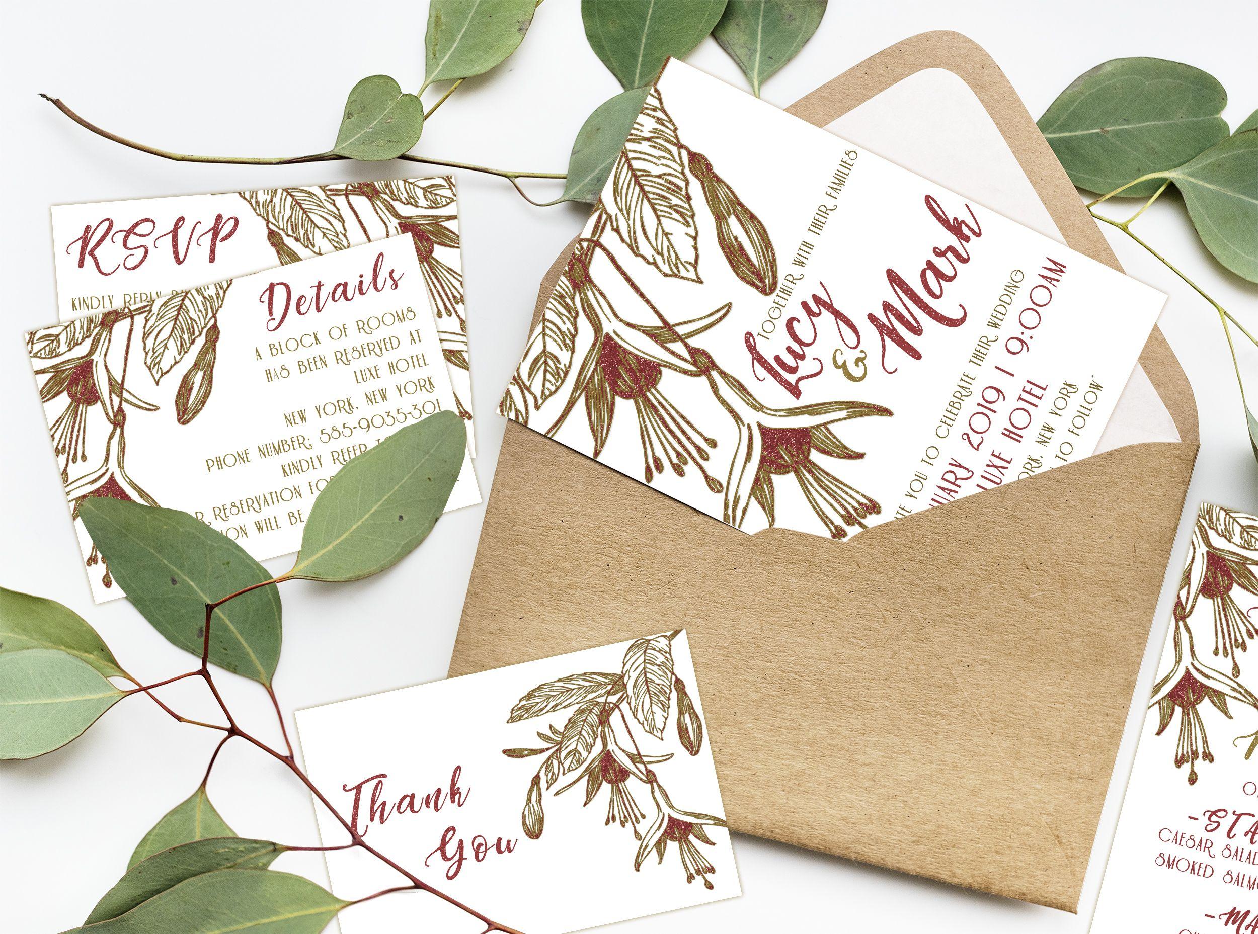 Fuchsine Flower Digital Wedding Invitation Set Instant Download