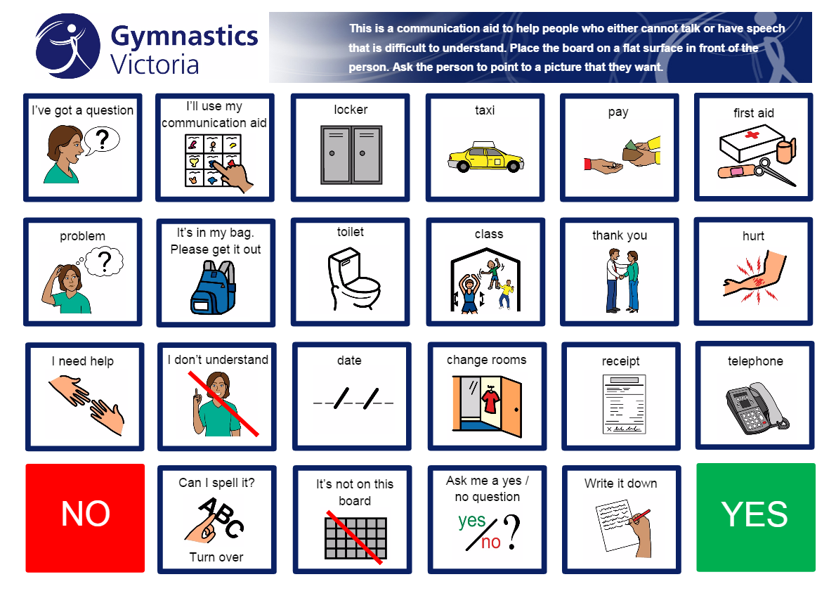 communication board for gymnastics classes  going to a