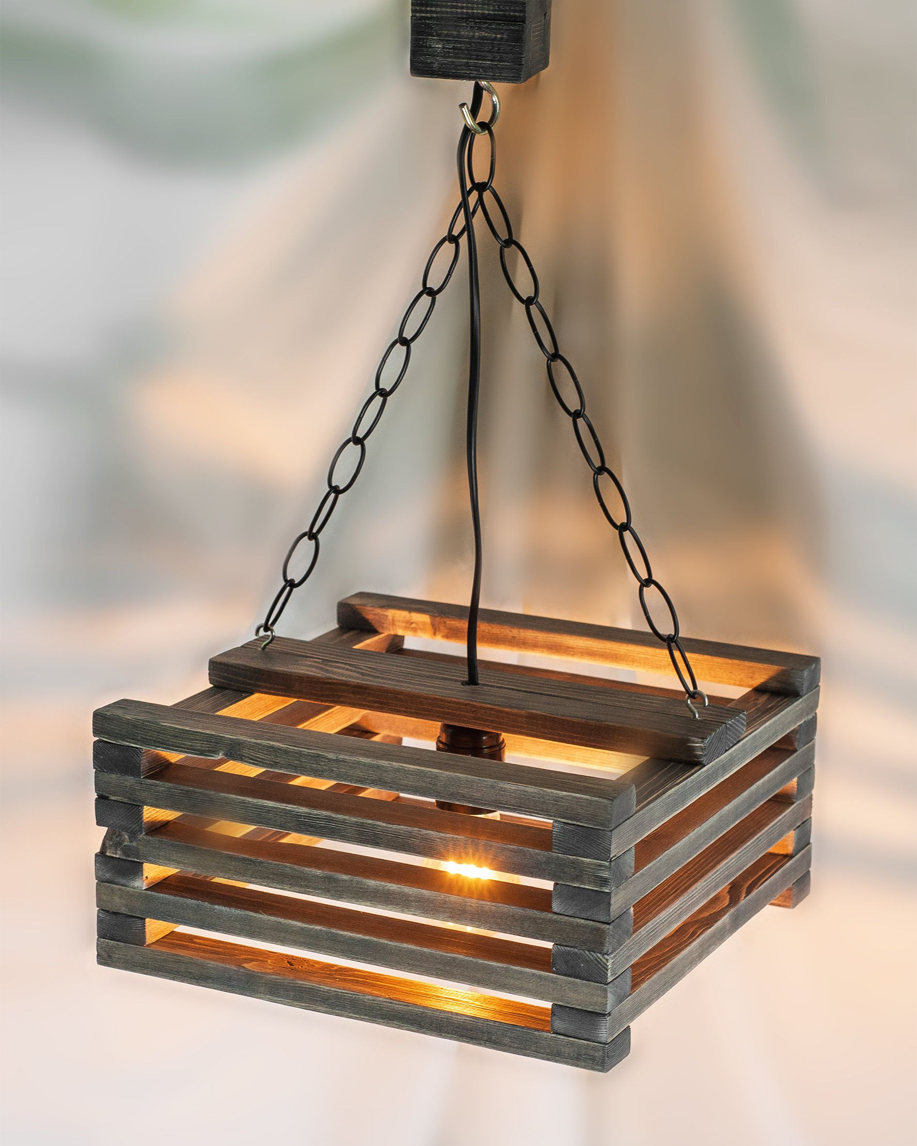 Wooden Hanging Lamp Pendant Lighting Wood Lamp Ceiling Wood Etsy