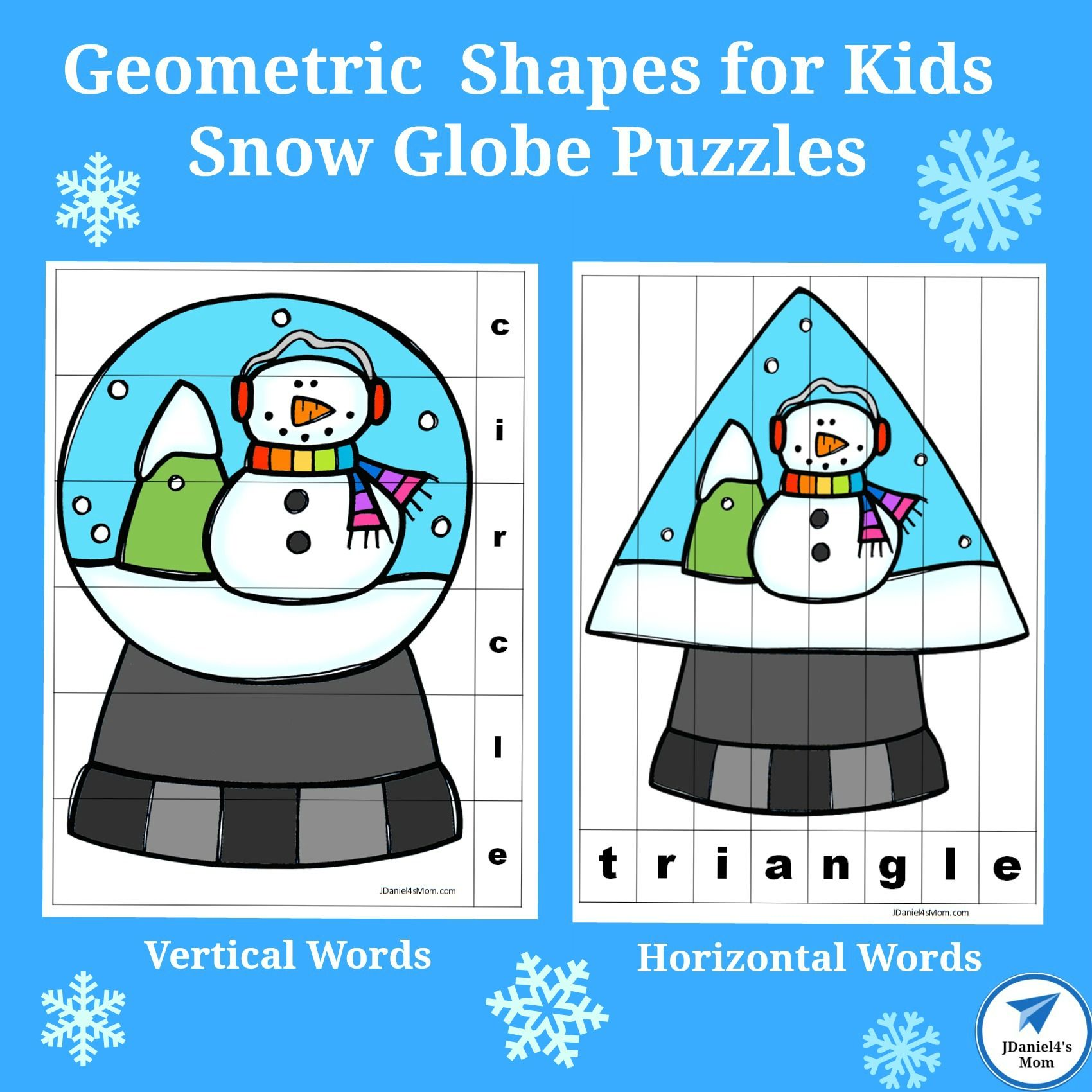 Geometric Shapes For Kids Snow Globe Puzzles