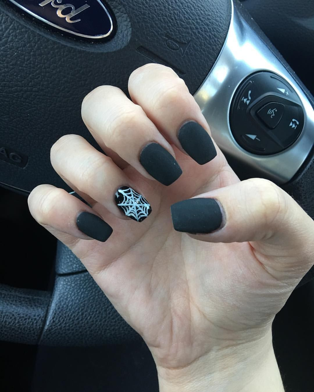 Halloween nails subtle coffin shape, Matte black, and a ...