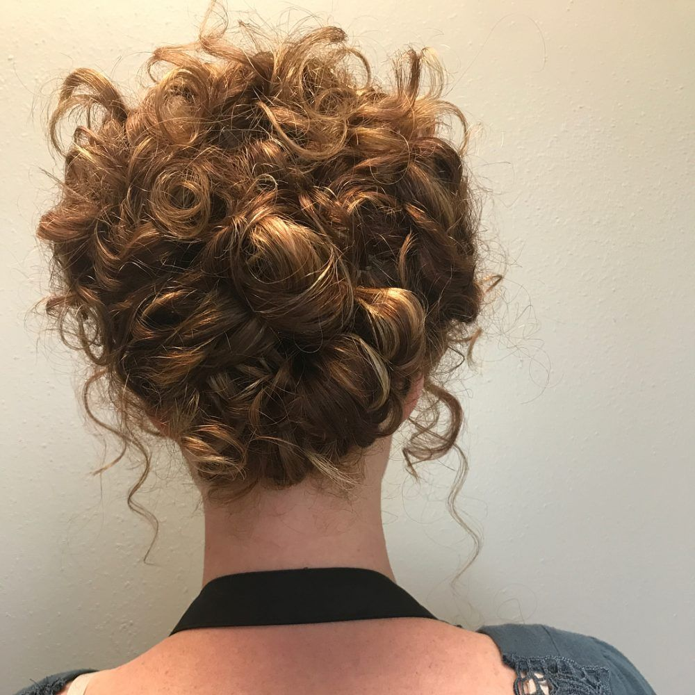 29 Easy Cute Updos For Curly In Trending In 2020 Curly Hair Updo Curly Hair Styles Curled Hairstyles