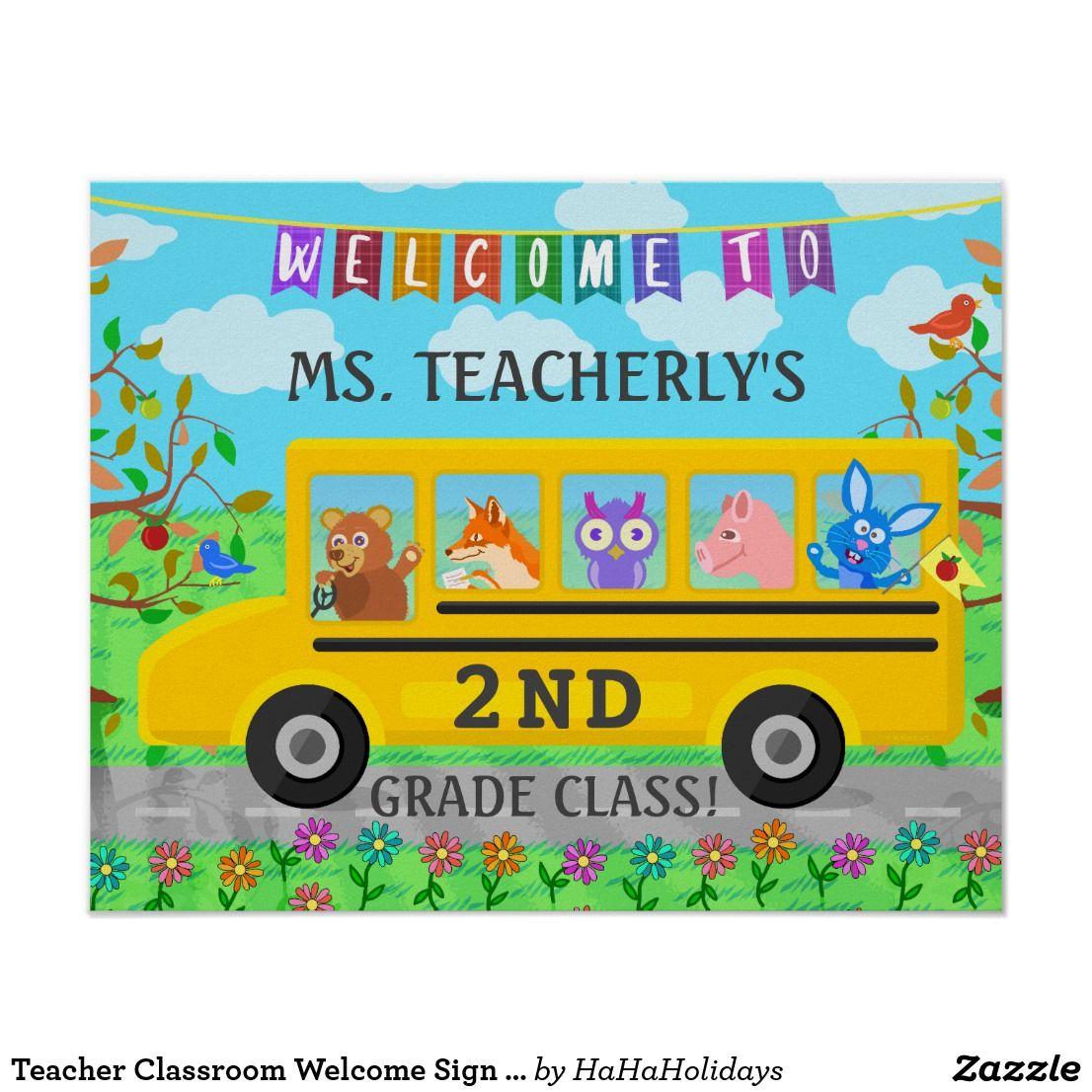 Teacher Classroom Welcome Sign Cute Animals on Bus   Teacher