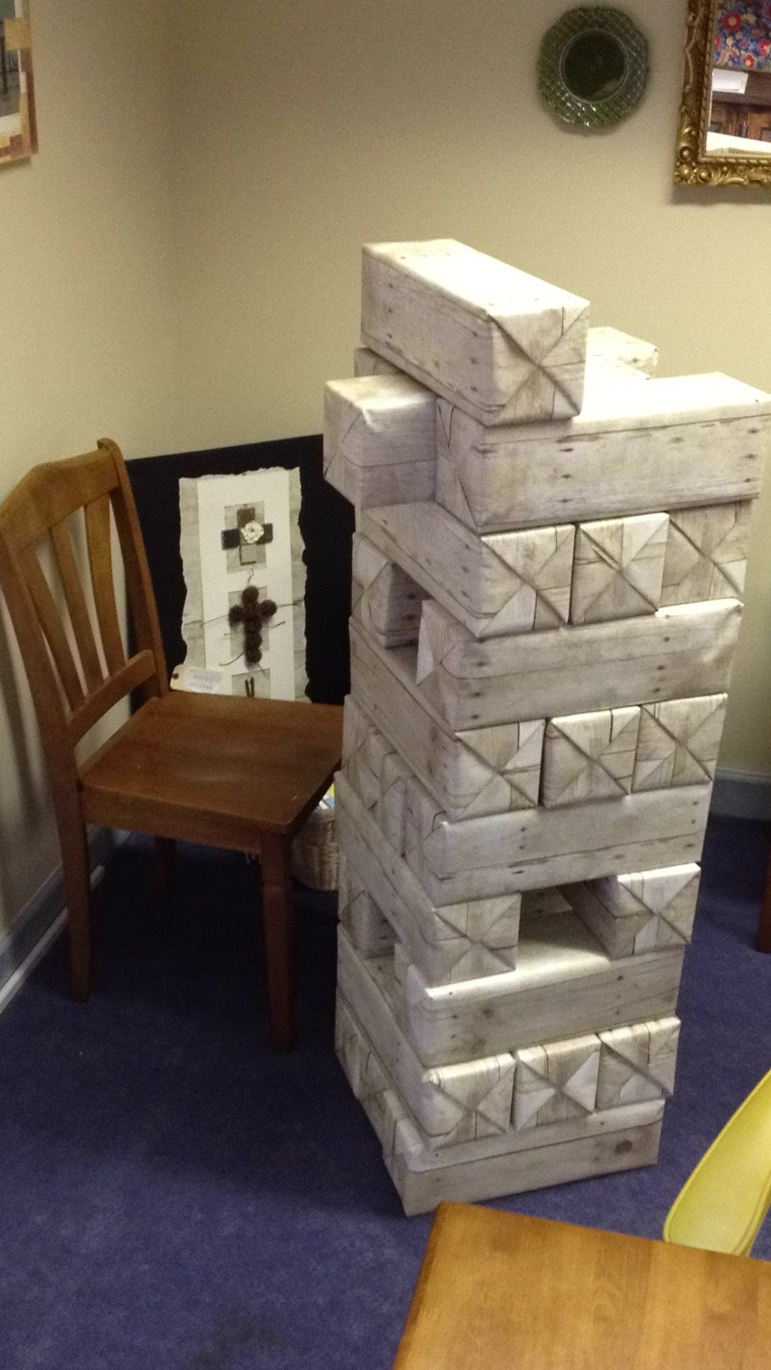 Life size Jenga from soda boxes covered with wood-grain ...