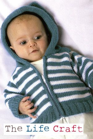 Free Knitting Pattern Baby Sweaters Simple Striped Hoodie