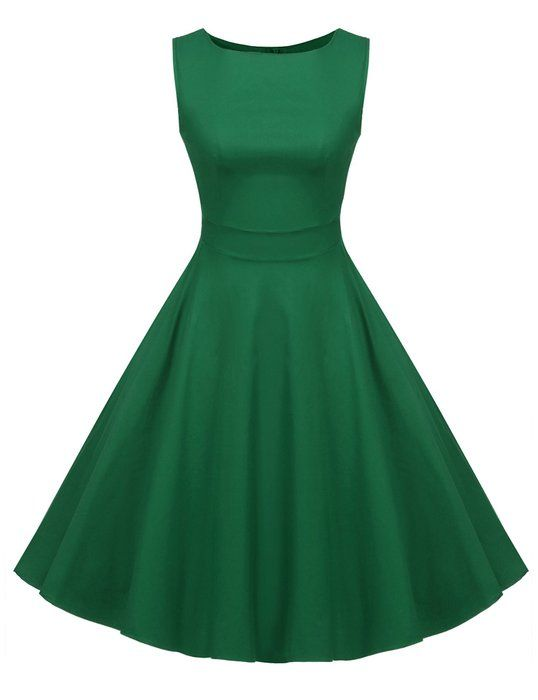 2892e949a06 ACEVOG Women s Rockabillty Sleeveless Swing Vintage Dress For Party Cocktail