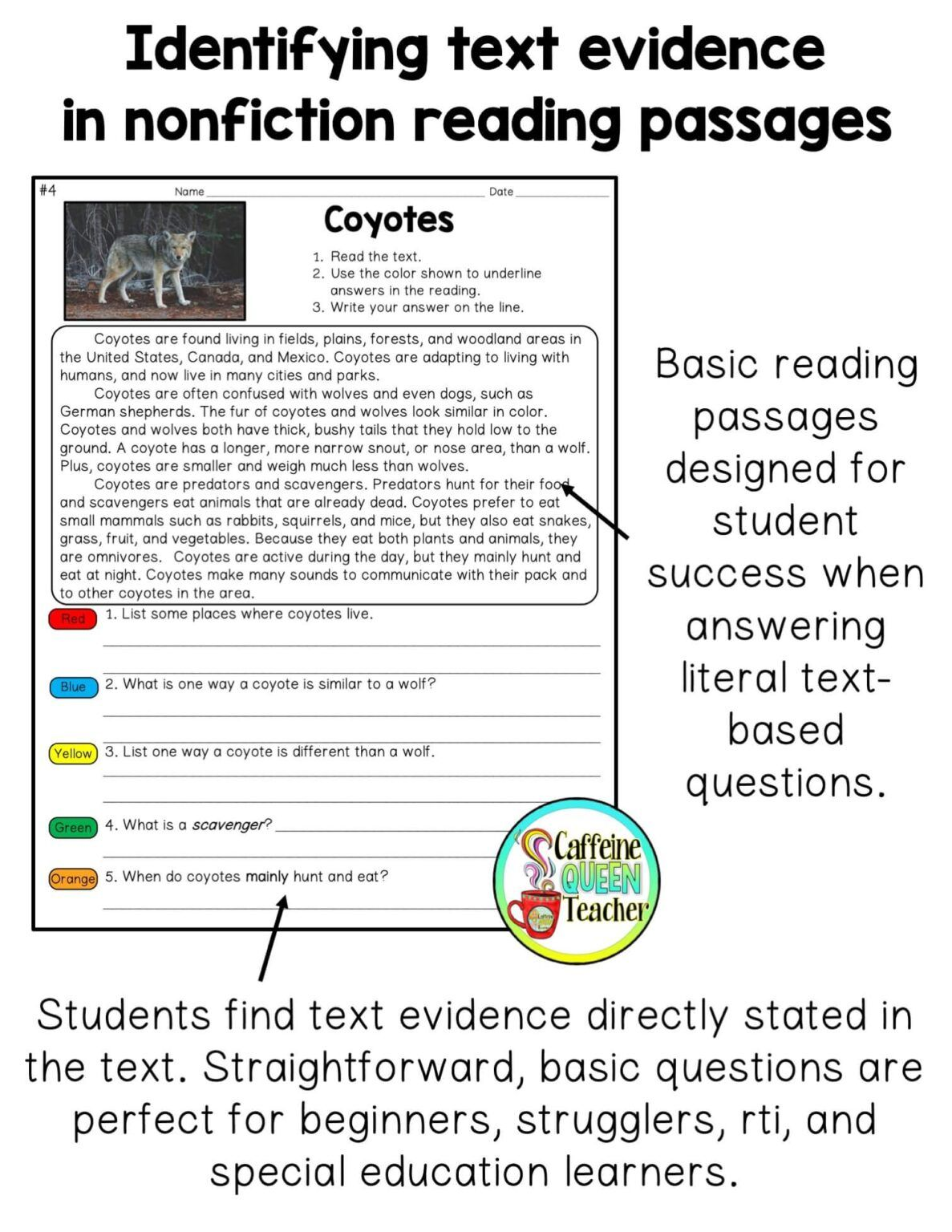 How To Teach Students To Cite Text Evidence Caffeine Queen Teacher Nonfiction Text Evidence Text Evidence Reading Comprehension Passages [ 1536 x 1187 Pixel ]