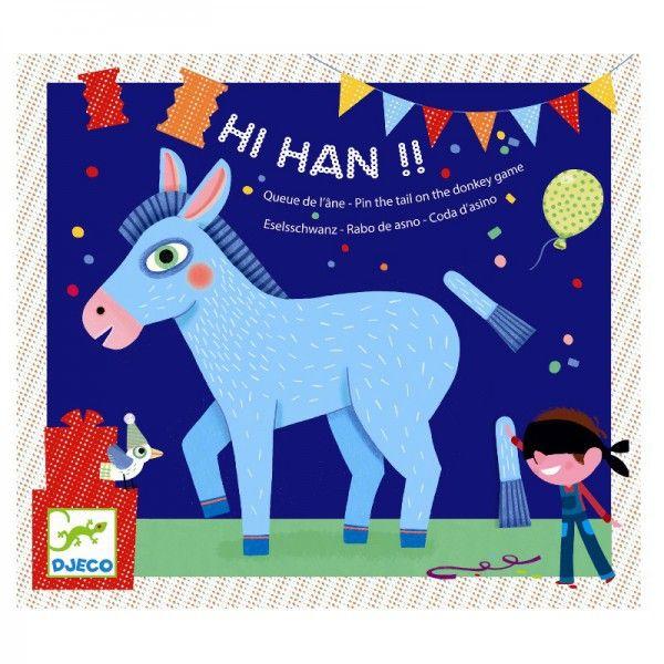 Djeco Partyspiel Hi! Han! für Kindergeburtstag Schwanz Esel anpinnen - Bonuspunkte sammeln, Kauf auf Rechnung, DHL Blitzlieferung!