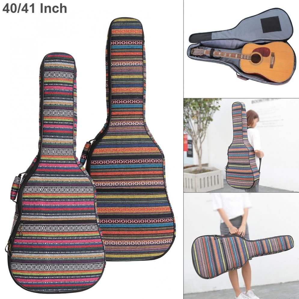 40 41 Inch Folk Style Knitted Acoustic Guitar Case Gig Bag Double Straps Pad Cotton Thickening Soft Cover Wat Waterproof Backpack Guitar Cases Gig Bags Bags