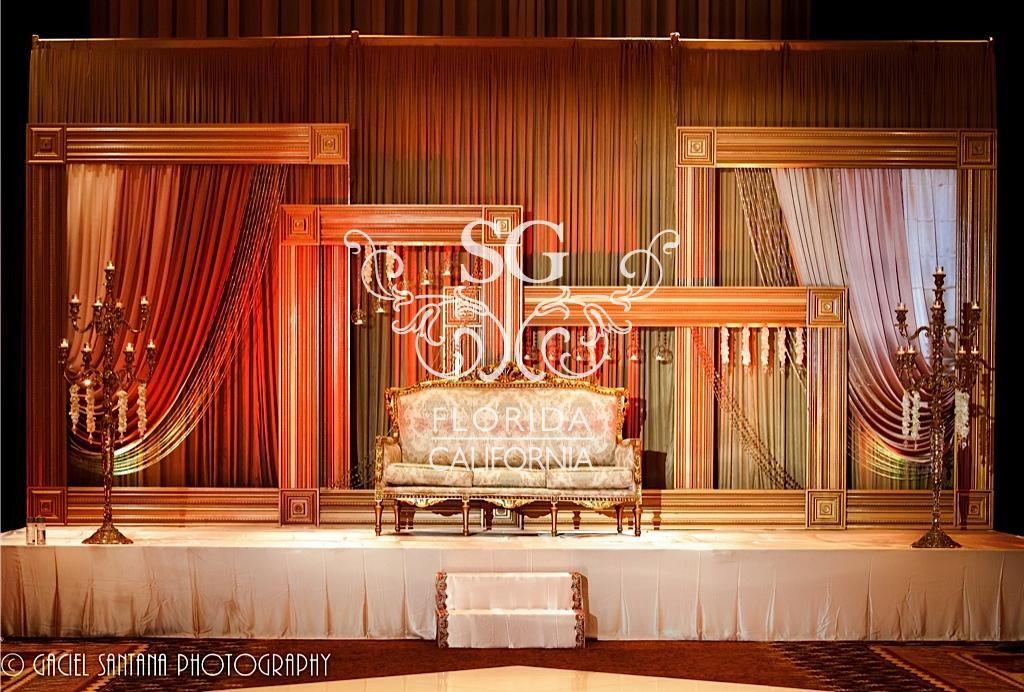 Suhaag Garden Indian Wedding Reception, Gold Frames ...