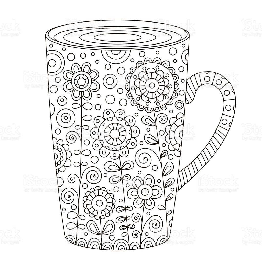 Cup of coffee. Vector hand drawn pot with doodle floral