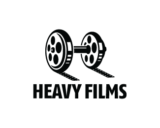 Heavy Films Logo Design Logo Design Of A Dumbbell Made From Movie Reels Br Photographers Logo Design Film Logo Logo Design