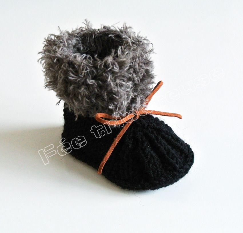 chaussons de bébé tricotés à la main (noir - marron) : Mode Bébé par feetricoteuse