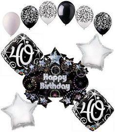Elegant Happy 40th Birthday Sparkles Balloon Bouquet Balloon