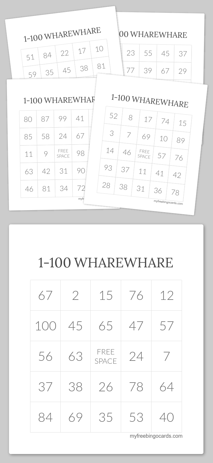 1 100 Wharewhare Bingo Free Printable Bingo Cards Bingo Cards Bingo Cards Printable