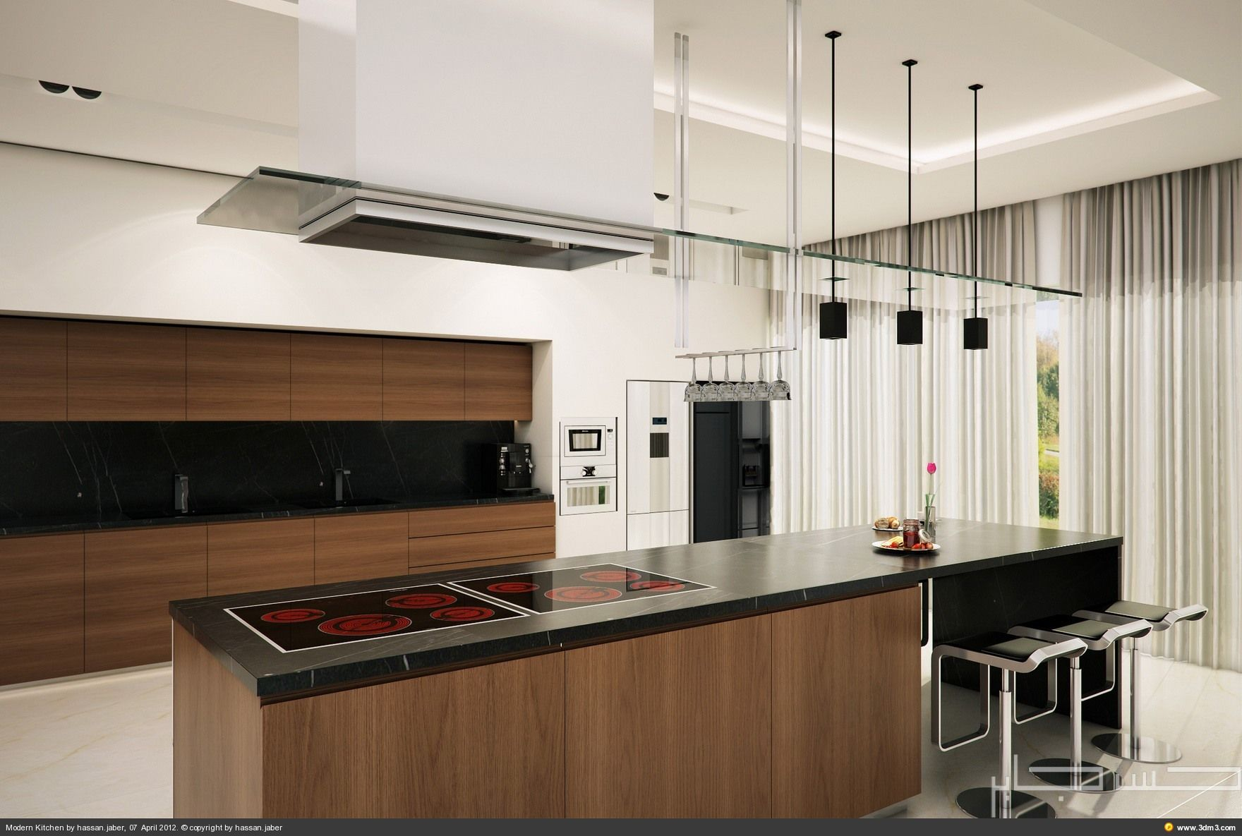 Modern Kitchen Modern Kitchen Modern Home Brown Kitchen Cabinet Also Island  Also Black Granite Countertop Also Pendant Lamp Also Kitchen Hoods Also  Stools ...