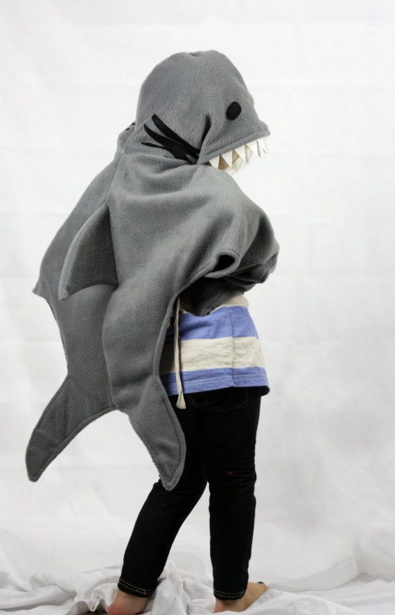 Our hooded cape shark costume is soft & comfy enough to wear all day, for parties or just dress up fun at home!! Made from polar fleece &