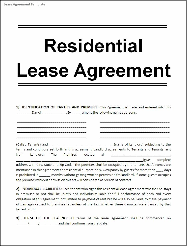 Printable Sample Free Lease Agreement Template Form – Rental Agreement Form Template