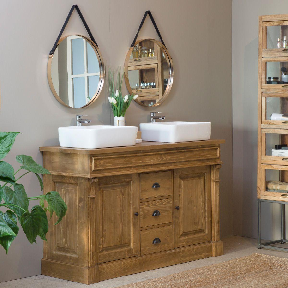 meuble salle de bain bois cire miel 2