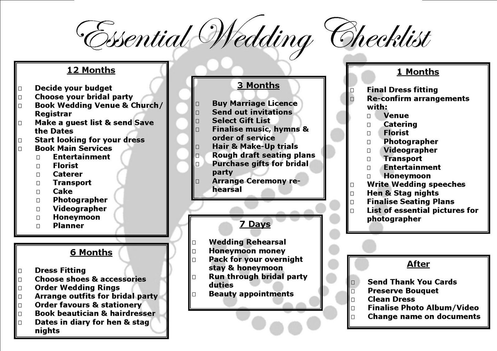 Printable  Month Wedding Checklist  Wedding Ideas