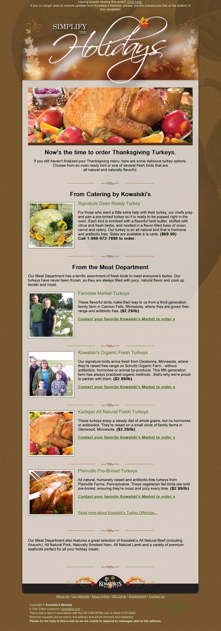 Thanksgiving Promotional Email Marketing - e-Blast, Retail | Team