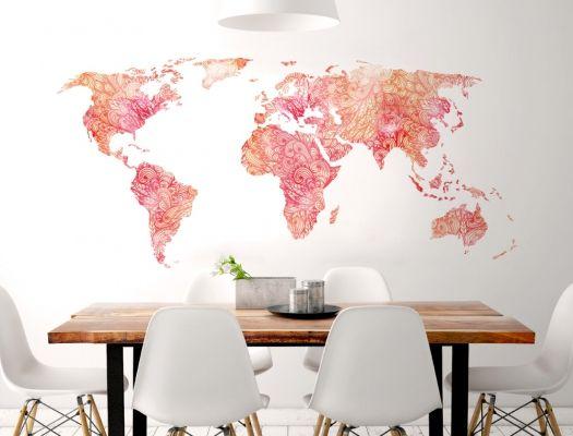 Wandtattoo Weltkarte In Orange Und Rot Mit Muster Wandgestaltung