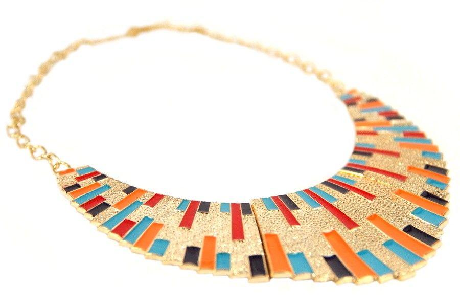 Collier Plastron azteque dore