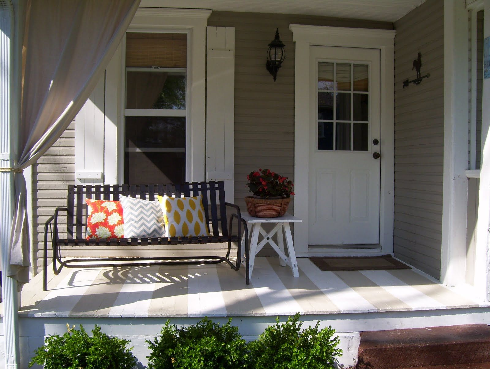Great idea for a striped porch, from Our Vintage Home Love #sideporch