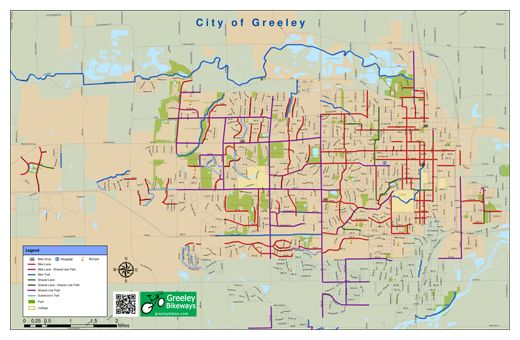 Bike Map for Greeley Colorado Including Poudre River Trail