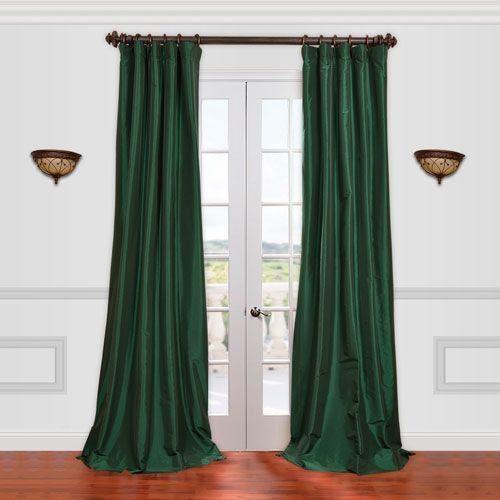 Half Price Drapes Emerald Green 50 X 108 Inch Taffeta Curtain Ptch