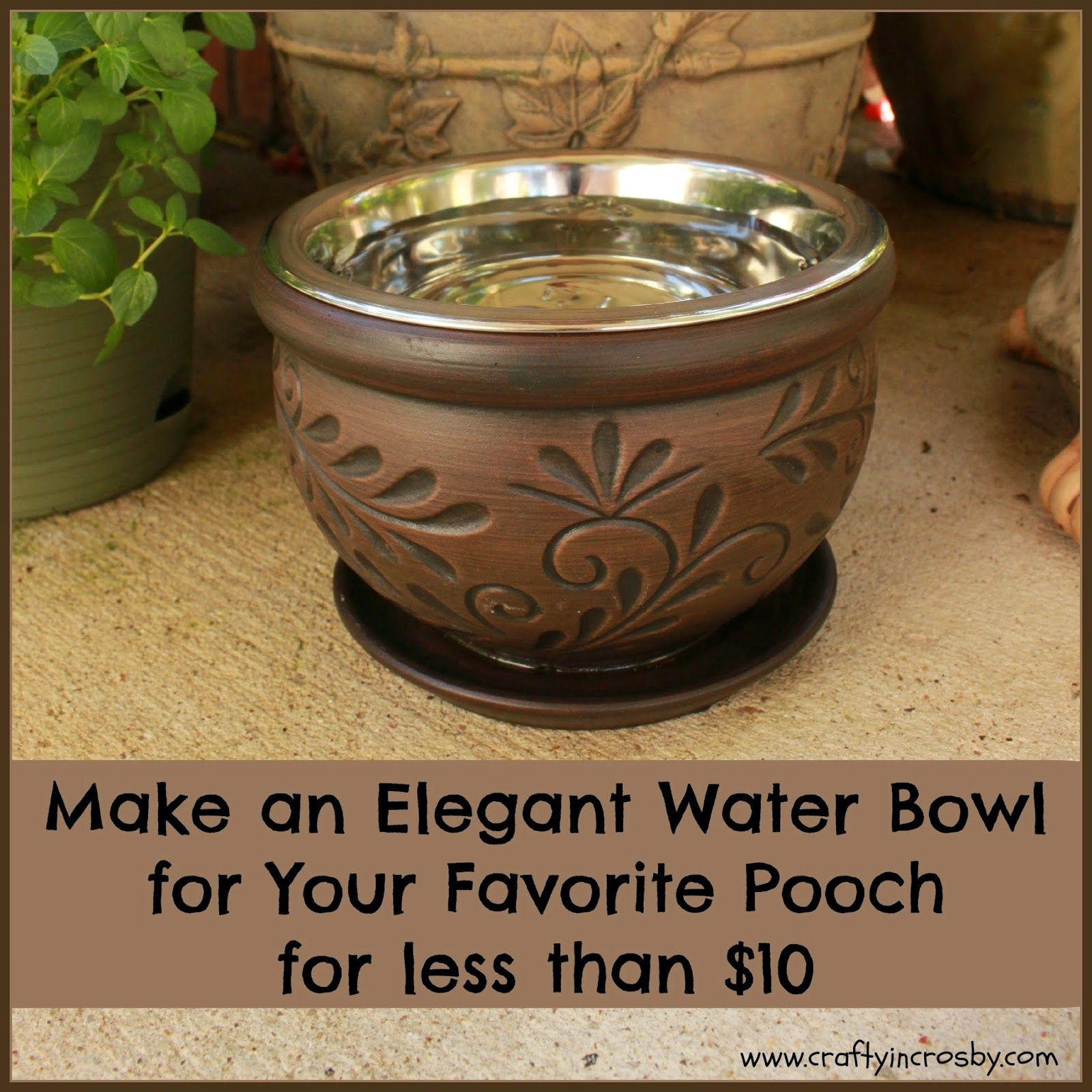 Need a huge planter for this -- Elegant DIY Dog Bowl | Elevated Dog