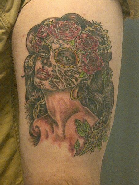 a83cadd47 Sugar Skull Tattoo by Christian @ Sacred Ink Tattoo   Sacred Ink ...