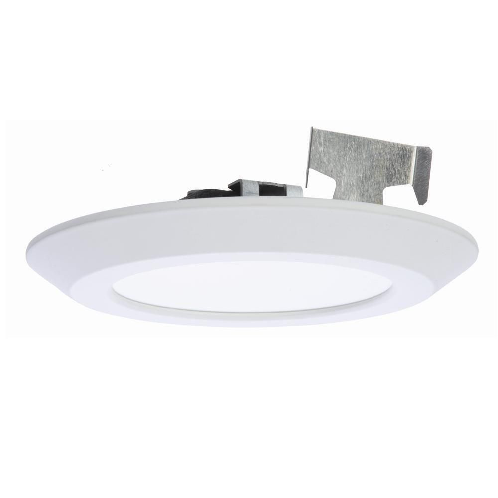 Halo 5 in. and 6 in. Matte White Recessed LED Surface Disk Light 80 ...