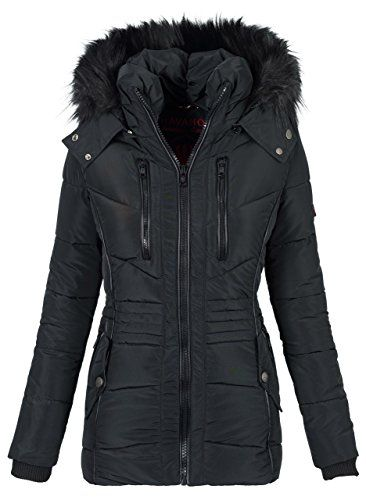 Navahoo Designer Damen Winter Jacke Parka Mantel Teddyfell Warm Gefuttert B327 Esma B327 Esma Schwarz Gr S Jacken Winterjacke Damen Warme Jacke Damen