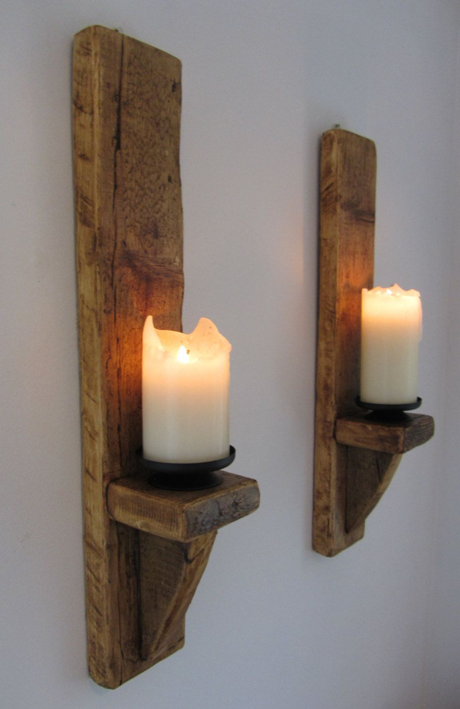 pair of large 60cm reclaimed plank wood wall sconce candle on wall sconces id=48901