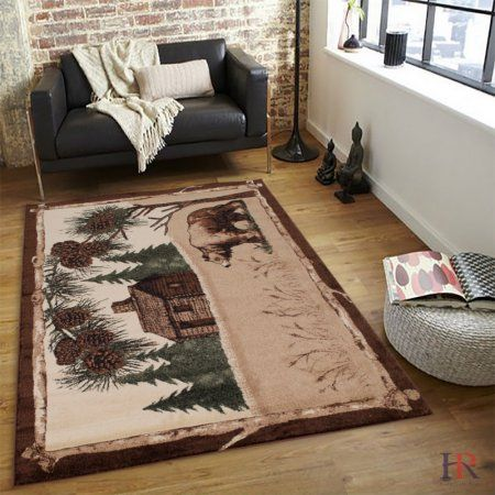 Hr Rustic Cabin Area Rug Bear And Lodge Design Rusticcabins