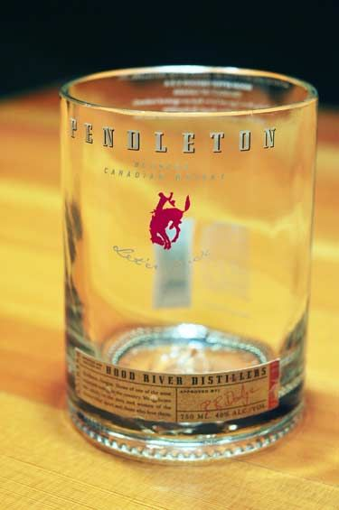 Made from original Pendleton Whisky bottles, custom cut ...