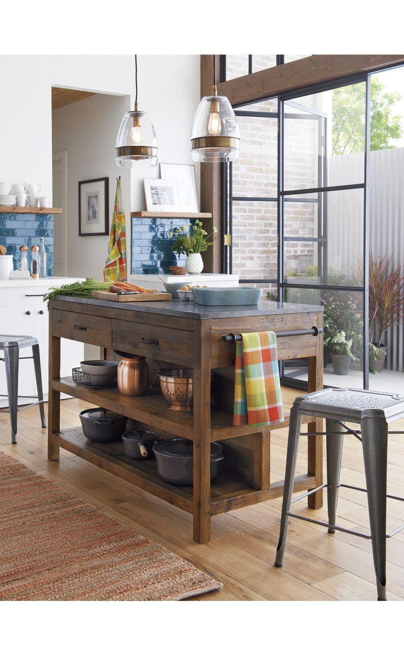 Bluestone Reclaimed Wood Large Kitchen Island Crate And Barrel