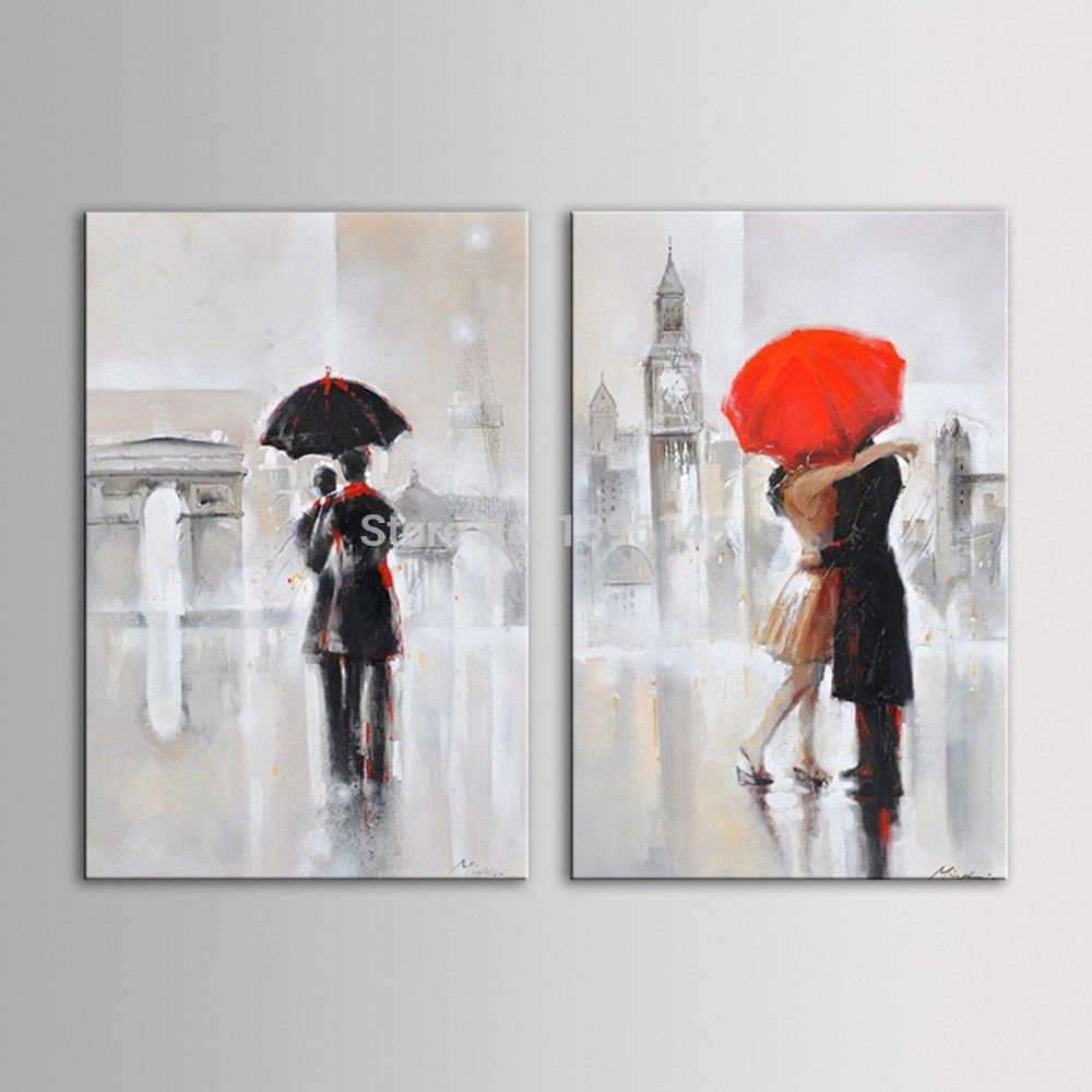 Arts Hand Painted Oil Painting Landscape Romantic Couple Kiss Under The Umbrella Walking In London