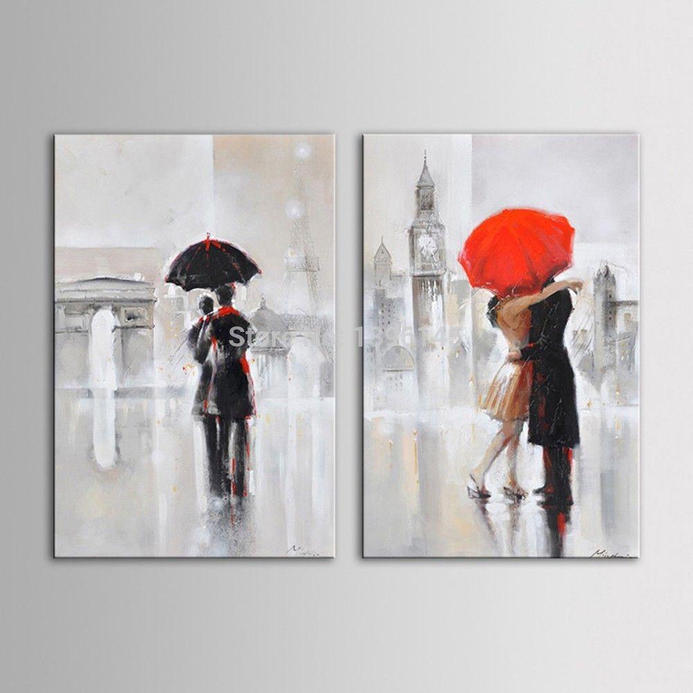 Arts Hand Painted Oil Painting Landscape Romantic Couple