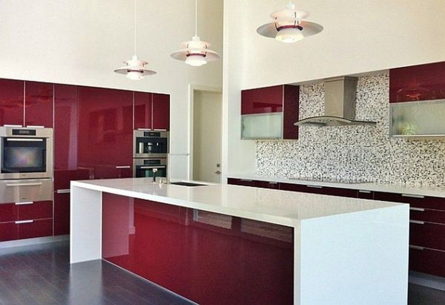 Hot Red For Kitchens With Attitude : Sleek Red Color Scheme In Modern  Kitchen Design