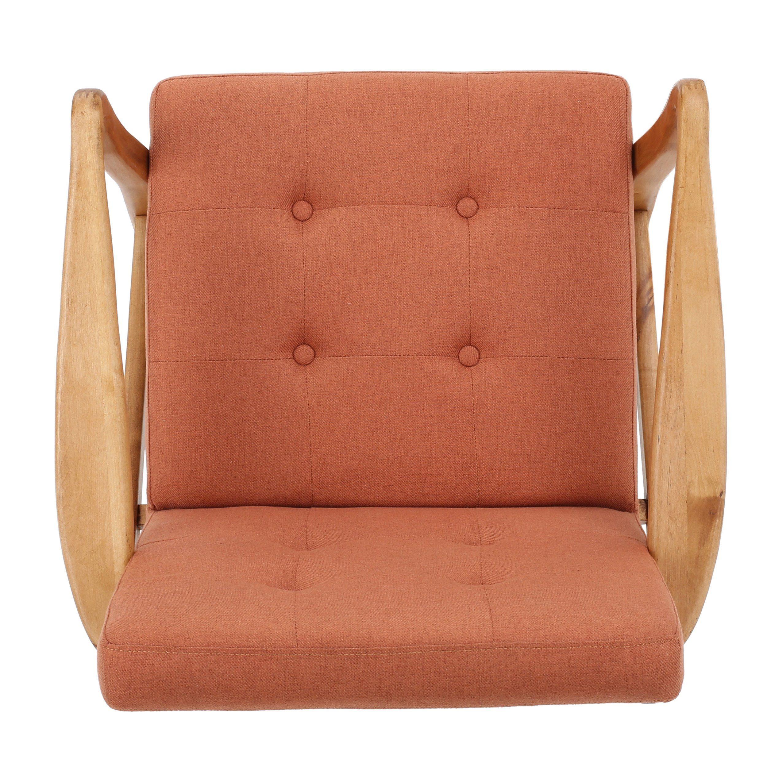 Gdf studio 300073 conrad orange fabric mid century modern