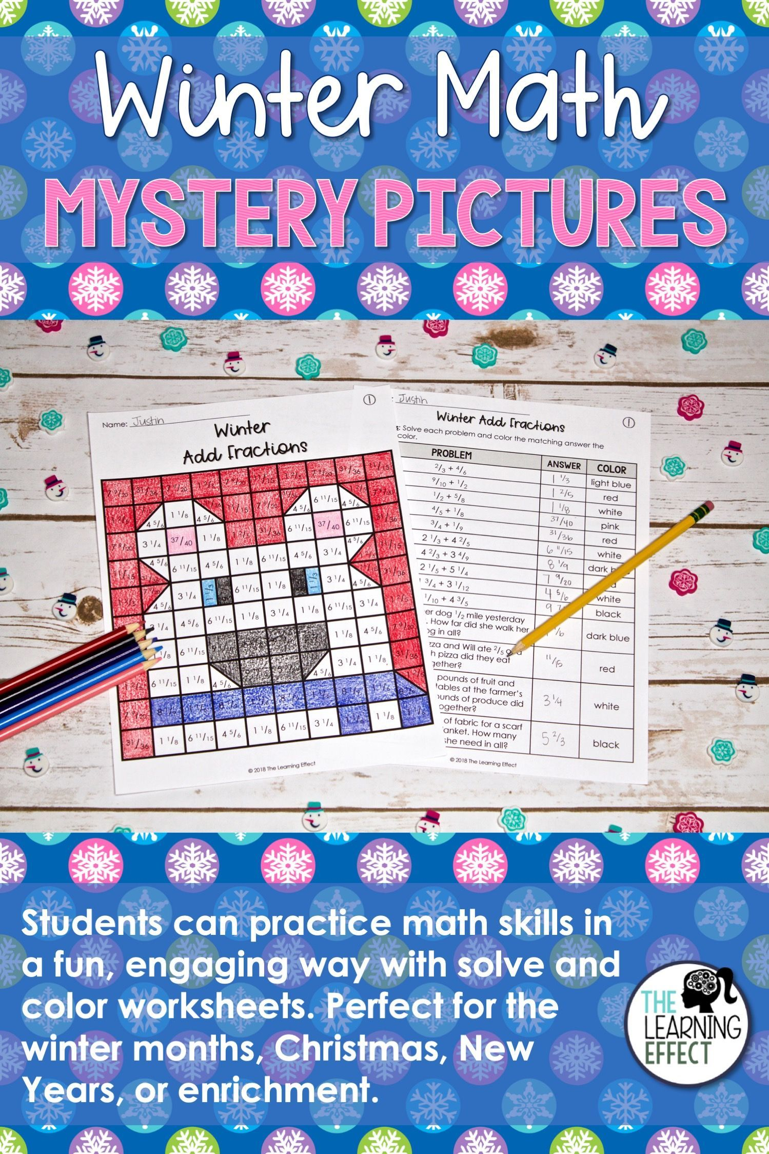 Fraction Mystery Worksheet Christmas