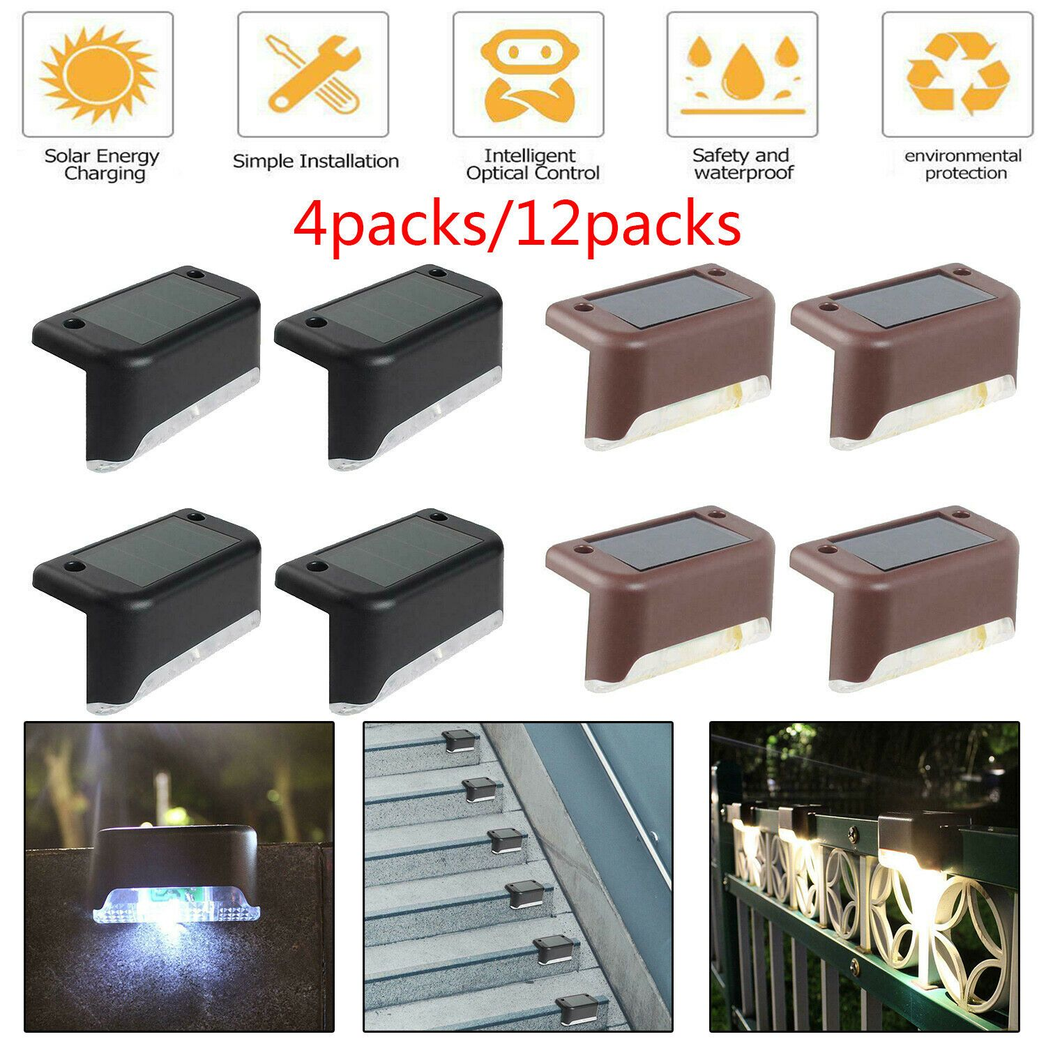 4*Solar Powered LED Deck Lights For Outdoor Path Garden Stairs Step Fence Lamp.