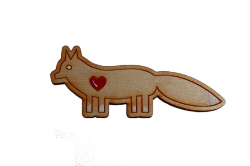 Fox Brooch. hand painted. laser cut. sustainable birch wood.. $12.00, via Etsy.
