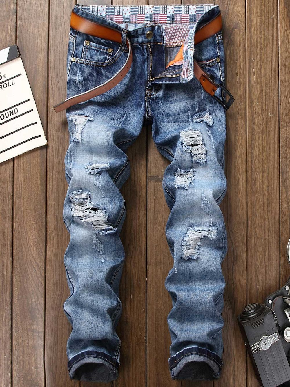 44b7710c1e191 Zipper Fly Faded Bleach Wash Ripped Jeans - BLUE 34