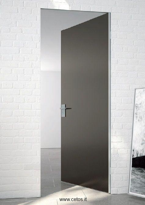 Porta filo muro tutto vetro a spingere | Porte interne e divisori ...
