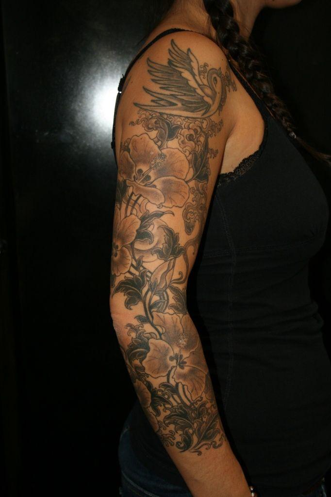 Grayscale Tattoo Sleeve Tattoos Flower Tattoo Sleeve Full Sleeve Tattoo Design