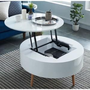 Leonie Table Basse Relevable Style Contemporain Laquee Blanc