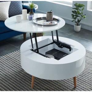 Leonie Table Basse Relevable Style Contemporain Laquee Blanc Brillant Pieds En Bois Hetre Massif Table Basse Relevable Table Basse Table Basse Contemporaine